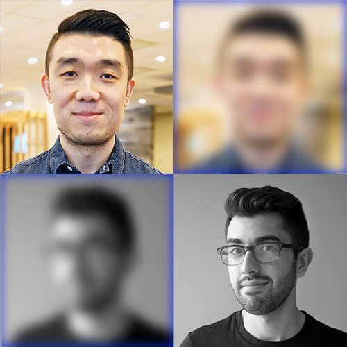Headshots of Dave Chen and Tino Kapetaneas, plus copies of each headshot that are blurred, arranged in a two by two grid.