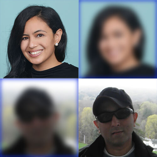 Headshots of Joel Isaac and Pia Zaragoza, plus copies of each headshot that are blurred, arranged in a two by two grid.