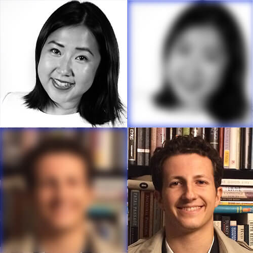 Headshots of Jenny Lo and Will Monge, plus copies of each headshot arranged in a two by two grid
