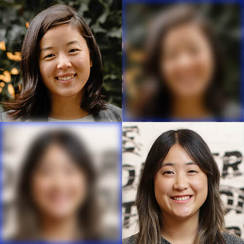 Headshots of Taylor Kim and Lisa Madokoro, plus copies of each headshot arranged in a two by two grid.